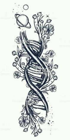 DNA necklace and Art Nouveau floral tattoo. Symbol of art .- DNA necklace and . - DNA necklace and Art Nouveau floral tattoo. Symbol of art …- DNA necklace and Art Nouveau floral - Flores Art Nouveau, Art Nouveau Flowers, Art Nouveau Tattoo, Tatuagem Art Nouveau, Symbolic Tattoos, Unique Tattoos, Symbolic Art, Hand Kunst, Surreal Tattoo