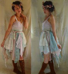 Fairy Rag Doll Dress... Size Medium... whimsical far pixie costume boho shabby chic woodland ballerina slip dress fantasy bridesmaid wedding...