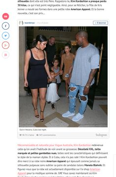 """Melty Fashion credited American Apparel in an article about Kim Karshian wearing the Ponte Tank Dress  in their story """"Kim Kardashian Affinée dans sa robe American Apparel à 58€ avec Kanye et North""""."""