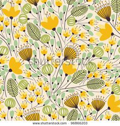 Elegant Seamless Pattern With Yellow Flowers, Vector Illustration - 96866203 : Shutterstock