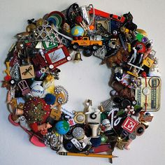 What a lot of work this would be but fun.I should try this I only have 3 junk drawers full of crap. Could probably make 10 of them with just junk I already have! **Could Do this with collection of vacation soueniers, too. Art And Craft, Diy And Crafts, Crafts For Kids, Recycled Art, Repurposed, Christmas Wreaths, Christmas Decorations, Kids Christmas, Xmas