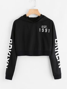 Black Letter Printed Hoodies Women Graphic No Casual Hooded Crop Sweatshirt Fashion Spring Fall Long Sleeve Hoodies Crop Top Hoodie, Cropped Hoodie, Crop Top Outfits, Cute Casual Outfits, Teenager Outfits, Outfits For Teens, Vetements Clothing, Trendy Hoodies, Sweat Shirt