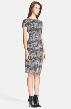 Free shipping and returns on Max Mara 'Memo' Print Jersey Dress at Nordstrom.com. A twist at the ruched waist gathers the smart silhouette of a short-sleeve jersey sheath. The abstract black-and-white print makes this 9-to-5 staple a stylish standout.