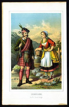 Antique Costume Print-SCOTLAND-GREAT BRITAIN-SCOTTISH KILT-GUN-1880