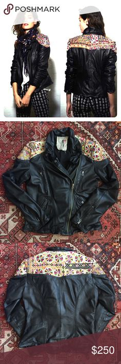 Free People Embellished Leather Biker Jacket Free People Embellished Classic biker jacket REAL leather, not vegan, in BLACK.   Worn <10 times for a season. Clearing my closet!   Gentle loved condition with small wear at wrists and some pilling on the cotton lining.  Outside is PRISTINE with no scratches, stains, etc.   Rare and STUNNING!   Unique due to the vintage tapestry. This one has great color and texture!     Pet and smoke free.  No trades and no low-ball offers on this jacket…