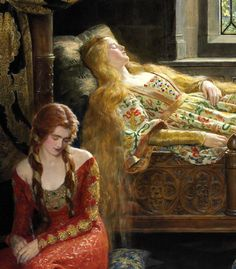 John Collier (British, 1850-1934). Sleeping Beauty (detail), 1921