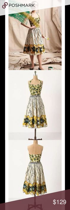 """Anthropologie Burgeoning Hypericum 50s Swing Flare $158 Anthropologie GIRLS FROM SAVOY Burgeoning Hypericum 50s Swing Flare Sz 2  Bright blooms burst from the folded sweetheart bodice of Girls from Savoy's fit-and-flare frock, reappearing again - five times the size! - at the hem of the streaked skirt. Removable, adjustable straps Back zip Cotton; cotton lining Machine wash 42""""L Imported Style No. 24252686 Bust: 27"""" Waist: 25"""" Length (pit to hem): 35"""" Anthropologie Dresses"""