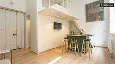 Elegant studio apartment for rent in Brera, Milan (ref: Mezzanine Bedroom, Mezzanine Floor, Classical Architecture, Next At Home, Double Beds, Large Windows, Studio Apartment, Space Saving, Modern Furniture
