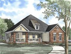 This striking Craftsman style home with country influences (House Plan #153-1467) has over 1830 square feet of living space. The one story floor plan includes 3 bedrooms. (NDG-595)