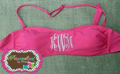 Monogrammed Bandeau Swim Top by PersonalizedbyPriss on Etsy, $30.00