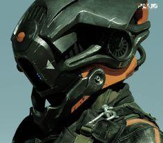 Helmet and costume design from independent film 'PLUG' Helmet Armor, Suit Of Armor, Combat Helmet, Character Concept, Character Design, Sci Fi Armor, Future Soldier, Robot Design, Helmet Design