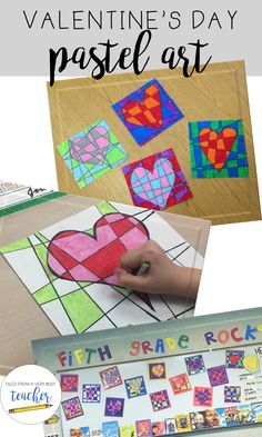 Valentine's Day Art Project This Valentine's art project for elementary school students is the perfect way to display student uniqueness and creativity in the classroom. School Art Projects, Projects For Kids, School Ideas, Arte Elemental, 4th Grade Art, Grade 3, Ecole Art, Classroom Crafts, Art Lessons Elementary