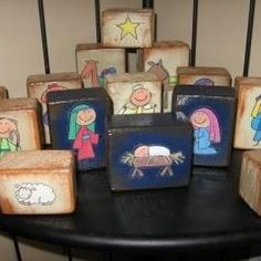 Nativity Blocks - I could have the boys draw their own when they are older + wood scraps + paint and Mod Podge...an awesome craft to keep the kids busy during Christmas Break