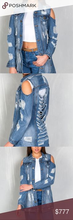 """COMING SOON! WILL BE $54 Brand new Boutique item Price is firm  DENIM JACKET FEATURES: DESIGN IN USA, SPREAD COLLAR DESIGN, LONG SLEEVES WITH SINGLE-BUTTON CUFFS, TWO FLAP POCKETS, STRINGY DISTRESSING DETAIL THROUGHOUT. Lashed back detailing ,TWO WELT POCKETS. COLD SHOULDER  Made In: DESIGN IN USA Fabric: 100% COTTON Color: MED BLUE DENIM  MODEL IS WEARING A SMALL (WAIST 25"""", BUST 32D"""", HIPS 36"""") ITEM MEASUREMENTS: LENGTH: 33'', BUST: 36"""", SLEEVE LENGTH: 22"""" per maker ... Jackets & Coats…"""