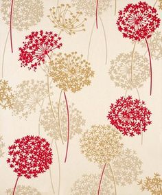 2 ROLLS OF MEADOW BEIGE & RED FLORAL FEATURE WALLPAPER BY WHITEWELL 320513 | eBay