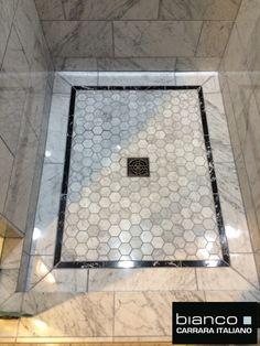"In this picture all polished Bianco Carrara: 3x6"" Tile $7.00SF• 8x16"" Tile $8.95SF• Chair Rail $12.95EA• 2"" Hexagon $11.75SF• Pencil (bordering the shelf insert) $9.95SF The warehouse guys loo..."