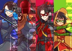 Dick Grayson, Jason Todd, Tim Drake, and Damiam Wayne genderbleand❤️❤️they're gorgeous