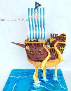 Gravity Pirate Ship Cake by Dimitra Mylona - Sweet Zoe