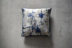 Peyton Metallic Cushion in Blue & Grey Metallic Cushions, Living Room Grey, Grey Paint, Bold Prints, Soft Furnishings, Blue Grey, Weaving, Textiles, Throw Pillows