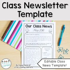 Classroom Newsletter Templates Free Download  November Monthly