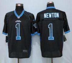Nike Carolina Panthers 1# Cam Newton Black Elite Drift Fashion Jersey  22.5$