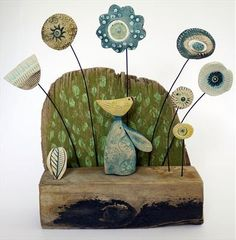 Country Mouse Balancing Little Bird - Shirley Vauvelle