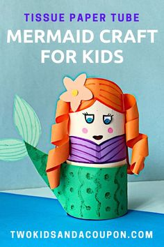 Help your little mermaid have swimmingly good craft time with this fun toilet paper tube mermaid craft for kids. Cute Kids Crafts, Recycled Crafts Kids, Fun Diy Crafts, Toddler Crafts, Craft Kids, Kid Crafts, Cardboard Tube Crafts, Toilet Paper Roll Crafts, Paper Crafts