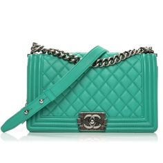 CHANEL Calfskin Quilted Medium Boy Flap Green ❤ liked on Polyvore featuring bags, handbags, quilted handbags, quilted chain shoulder bag, kiss-lock handbags, quilted chain strap shoulder bag and flap handbags