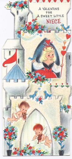 Vintage 50's  Hallmark Valentine Greeting Card Castle