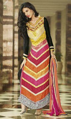 $84.61 Black Faux Georgette Thread Work Designer Churidar Salwar