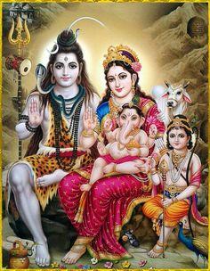 Lord Shiva And Family (Parvati, Lord Ganesha and Lord Kartikeya/Muruga) Shiva Parvati Images, Shiva Hindu, Durga Images, Shiva Art, Hindu Deities, Ganesh Images, Hanuman Images, Lord Shiva Pics, Lord Shiva Hd Images