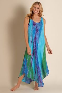 Our maxi-length Ibiza Dress has an eye-catching tie-dye pattern. Perfect as a beach or pool cover up.