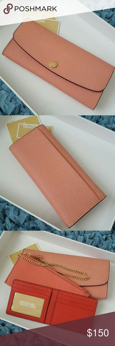 """Michael Kors Juliana 3 in 1 Wallet This beautiful grapefruit saffiano leather wallet features removable chain coin purse, removable card case, and main slot pocket with more card slots. This wallet easily turns into a wristlet with the insert of removable chain coin purse. Dimensions are approximately 9"""" x 4.5"""" x 1"""" Michael Kors Bags Wallets"""