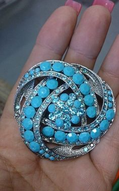 Stunning Turquoise Rhinestone eternal knot brooch jewelry in Necklaces & Pendants | eBay
