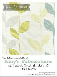 Coordinating Fabrics For Your Home: Floral, Houndstooth & More (Beige, Blue, Yellow). Available at Amy's Fabrications, St. Peter's, NS.)