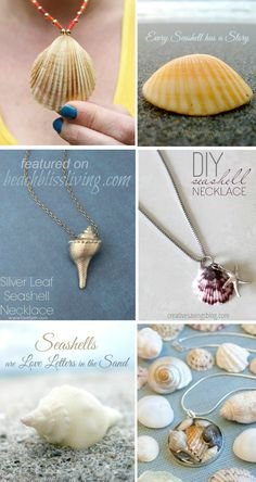 Turn seashells from your beach vacation into simple and beautiful jewelry. Tutorials featured on BBL Seashell Jewelry, Seashell Necklace, Beach Jewelry, Feet Jewelry, Seashell Projects, Seashell Crafts, Beach Crafts, Do It Yourself Jewelry, Do It Yourself Fashion