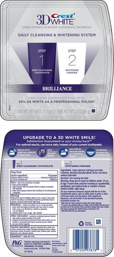 Amazing product I got go try from buzz agent Crest White Brilliance Daily Cleansing and Whitening System (The Procter & Gamble Manufacturing Company) Stannous Fluoride in kit Best Whitening Toothpaste, Whitening Skin Care, Teeth Whitening Remedies, Natural Teeth Whitening, Crest Whitening, Crest 3d White, Tooth Sensitivity, Coconut Oil Pulling, Natural Home Remedies
