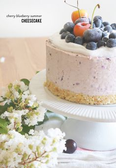 Cherry Blueberry Cheesecake: http://www.stylemepretty.com/living/2015/08/20/cherry-blueberry-summer-cheesecake/ | Photography: Melina Thompson - www.sugaryandbuttery.com/