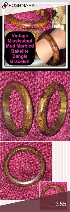 "VTG Mississippi Mud Marbled Bakelite Bracelet! Vintage Mississippi Mud Marbled Bakelite Bangle Bracelet! Lovely vintage Bakelite bangle with pretty yellow swirl colors. Measures 13mm wide, 11mm thick, 2 1/2"" inner diameter & approx. 3 3/8"" wide (end to end). Weighs 33gr. Has tested positive for bakelite using Simichrome Polish & hot water tests. Excellent condition. Offers welcome! Vintage Jewelry Bracelets"