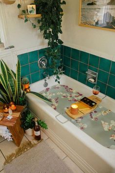 Treating Yourself to a Self Care Bath — Black & Blooms One of my fave self care rituals is taking a luxurious bath! Add some Godiva chocolates and rosé from Simply Chocolate to the mix, and you've got an absolutely heavenly pairing. Boho Bathroom, Bathroom Interior, Bathroom Remodeling, Remodeling Ideas, Bathroom Ideas, Colorful Bathroom, Coral Bathroom, Bathroom Plants, Bathrooms With Plants