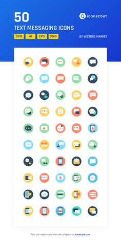 Text Messaging   Icon Pack - 50 Flat Icons