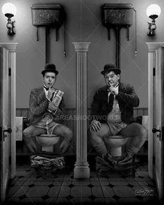 Stan Laurel and Oliver Hardy Stan Laurel Oliver Hardy, Laurel And Hardy, Caricatures, Old Pictures, Funny Pictures, Black White Photos, Black And White, Toilet Art, Senior Humor