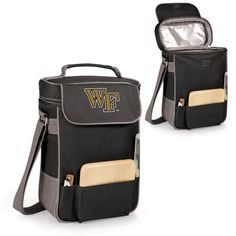 Duet Wine and Cheese Tote - Black (Wake Forest University - Demon Deacons) Embroidered