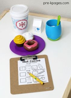 Hot Cocoa Pretend Play in Preschool. Create a Hot Chocolate Shop for a winter theme in your preschool, pre-k, or kindergarten classroom with these printable props to make learning fun!