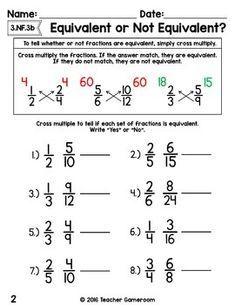 Fraction Mini Set: Equivalent or Not Equivalent Worksheet