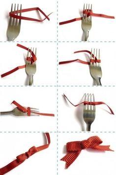 fare fiocco con forchetta