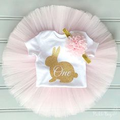 Rabbit First Birthday Outfit Pink and Gold Easter First Birthday Outfit Girl Bunny Cake Smash Outfit Girl #Easter #Bunny #Eastercakesmash