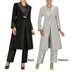 @Overstock - Be ready for any special event with this stylish plus-size pant suit by Divine Apparel. This suit features a long embellished coat with rhinestones, a matching scoop neck blouse, and elastic waist-pants that are comfortable and fashionable.http://www.overstock.com/Clothing-Shoes/Divine-Apparel-Embellished-Duster-Coat-Womens-Plus-Size-Pant-Suit/7233398/product.html?CID=214117 $168.99