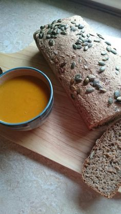 Sweet potato and coconut soup with user healthy spelt bread.