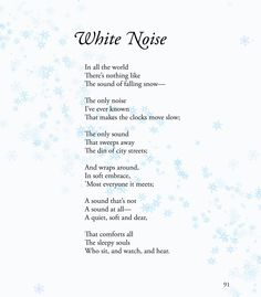 "Children's Poem about snow. Fun for school activities! Excerpt from ""Suzie Bitner Was Afraid of the Drain"". Great for winter and holiday reading. common core first 1st grade, second 2nd grade, third 3rd grade reading #ESL"